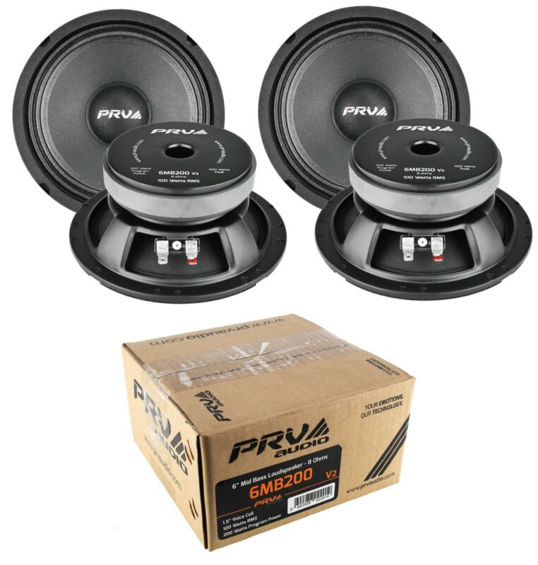 """4x 6"""" Full Range Mid Bass Loud Speaker 8 Ohm 6MB200V2 800 Watts PRV Audio"""