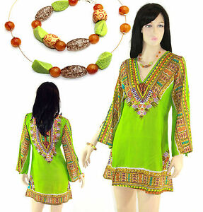 NEW TRIBAL PRINT COTTON KAFTAN SUMMER DRESS TOP