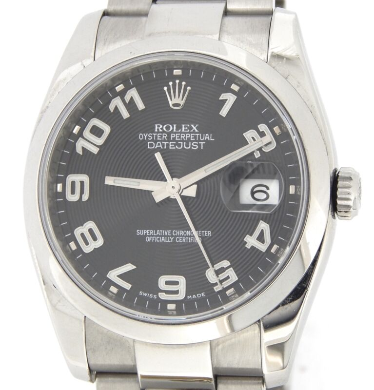 Rolex Stainless Steel Datejust Watch Oyster Black Concentric New Style 116200