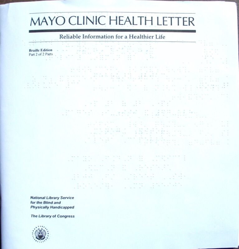 Mayo Clinic Health Letter - August 2017  (Braille for the blind)