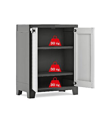 Water Resistant Low Plastic Cupboard Cabinet - Garden Storage Box Outdoor Locker