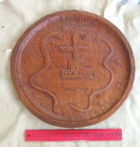 RAREST ca. 1870 IROQUOIS (SENECA) INDIAN SNAKE / CROSS EFFIGY LG. FEAST PLATTER