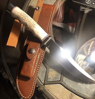 RANDALL KNIVES LITTLE BEAR 12-6 Beautiful Stag Finger Grips. Thumb Notch