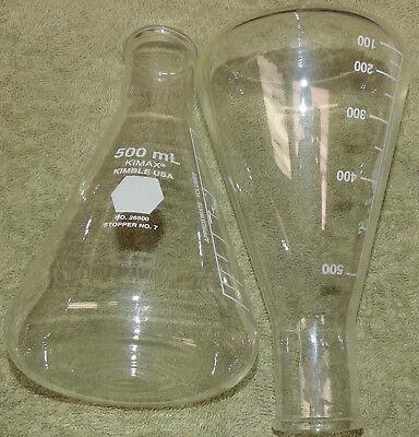 Two - Kimax Lab Glass 500ml Graduated Erlenmeyer Flasks Flask