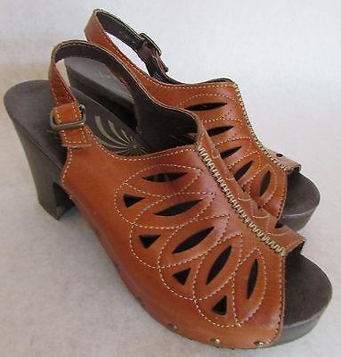 "DANSKO Brown ""Rowena"" Sandal Clog Leather Slingback High Wood Heel Size 41"