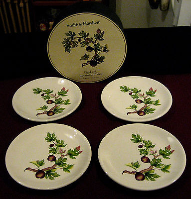 "SMITH & HAWKEN FIG LEAF BOTANICAL - BOXED SET OF FOUR 8"" DESSERT PLATES"