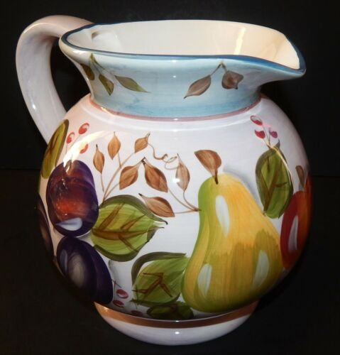 Black Forest Fruits 3 Qt Pitcher Ceramic Pottery Strawberry Apple Heritage