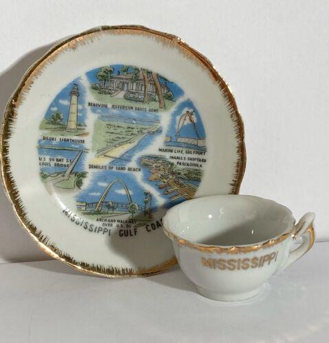 Vintage Souvenir Mississippi Cup and Saucer ~ Gold Trim ~ Excellent Condition