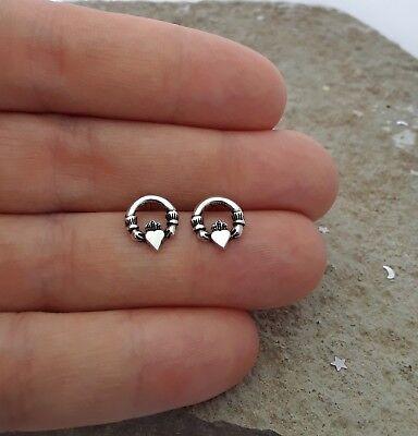 (Celtic Earrings, Sterling Silver Claddagh Stud Earrings)