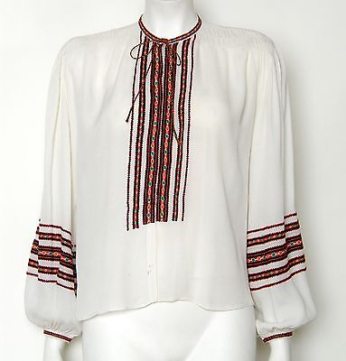c 40s 50s Vintage Embroidered Peasant Blouse Rayon Crepe Long Balloon Sleeves