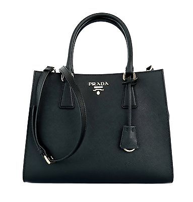 Prada Tote Shoulder Bag Medium Black Saffiano Leather New