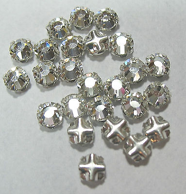 Preciosa Czech Rose Montees Clear Crystal 3mm SS12 Silver Plated SP 25 Beads
