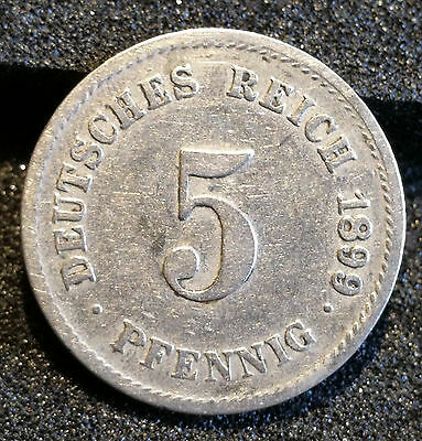 5 Pfennig Stück 1899 G Deutsches Reich Reichsadler Münze sehr schön ++