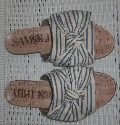 Womens Sam & Libby Light Blue/White Striped Nevada Slides Sandals Size 8