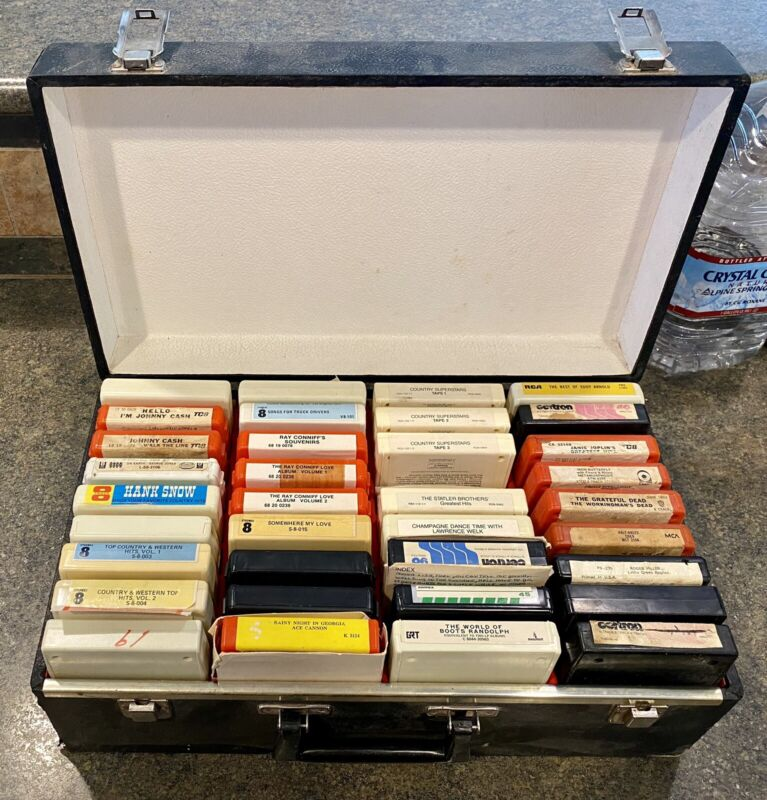 Lot of 35 Eight (8) Track Cassette Tapes-All Genres With Carrying Case