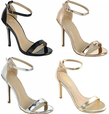 Single Ankle Straps Buckle Stiletto Round Open Toe Party High Heel Sandals - Buckle High Heel Pump Shoe