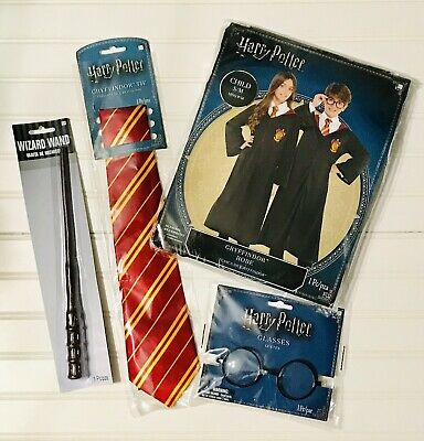 Boys Girls Harry Potter Gryffindor Costume Party Halloween Robe Wand Glasses Tie](Halloween Costume Harry Potter)