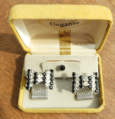 Men's Vtg.Jewelry Faceted Jet Black Crystal Mesh Wrap Around Cuff Links/Tie Pin