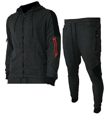 Tuta Uomo Pantaloni e Maglia Felpa Zip Cappuccio Sport Fitness Primaverile