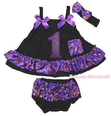 Birthday 1ST Halloween Baby Girls Elegant Pumpkin Swing Top Bloomer Outfit NB-2Y - Halloween First Birthday