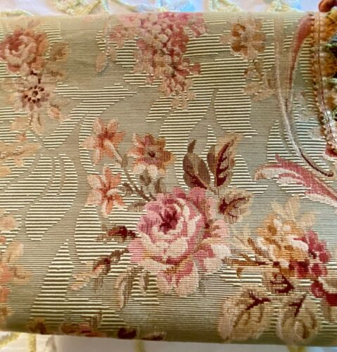 Pair Victorian Valence Palmets  French Brocade with Roses .