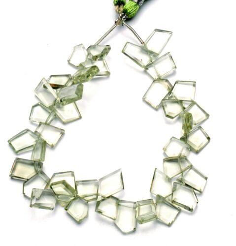 """Natural Gem Green Amethyst Prasiolite Faceted Slice Shape Beads 8"""" 80Cts."""