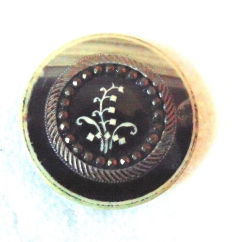 Vintage Ivorine Lily of the Valley Medium Picture BUTTON #4004