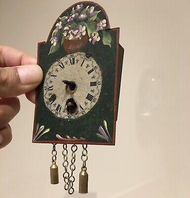 Antique German Swiss Polychrome Clock for Salesman Figure.