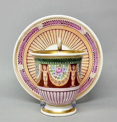 #C1 Biedermeier Vitrinentasse Tasse mit nackten Knaben, um 1850