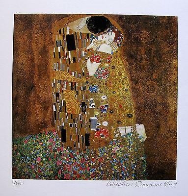 "GUSTAV KLIMT ""THE KISS"" Estate Signed Limited Edition Fine Art Giclee"