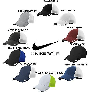 Nike Golf FITTED Swoosh FLEX FIT MESH BACK TRUCKER Cap Structured Baseball Hat