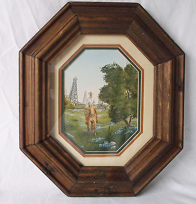 Western Cowboy & Horse-Windmills/Barn-Mary Selfridge Signed/Matted/Framed Print