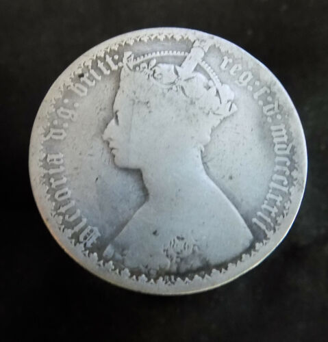 1872 Great Britain Florin KM# 746.2 silver coin cleaned mdccclxxii die # 81
