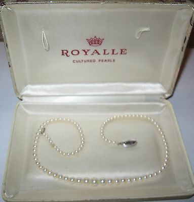 "Cultured Pearl Necklace 14K Gold Clasp, Graduated 3 mm to 6 mm, 17"" long, 1950's"