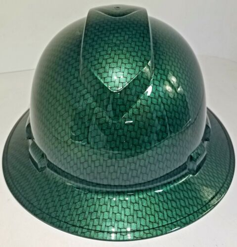 NEW FULL BRIM Hard Hat custom hydro dipped MONEY GREEN BIG WEAVE CARBON FIBER