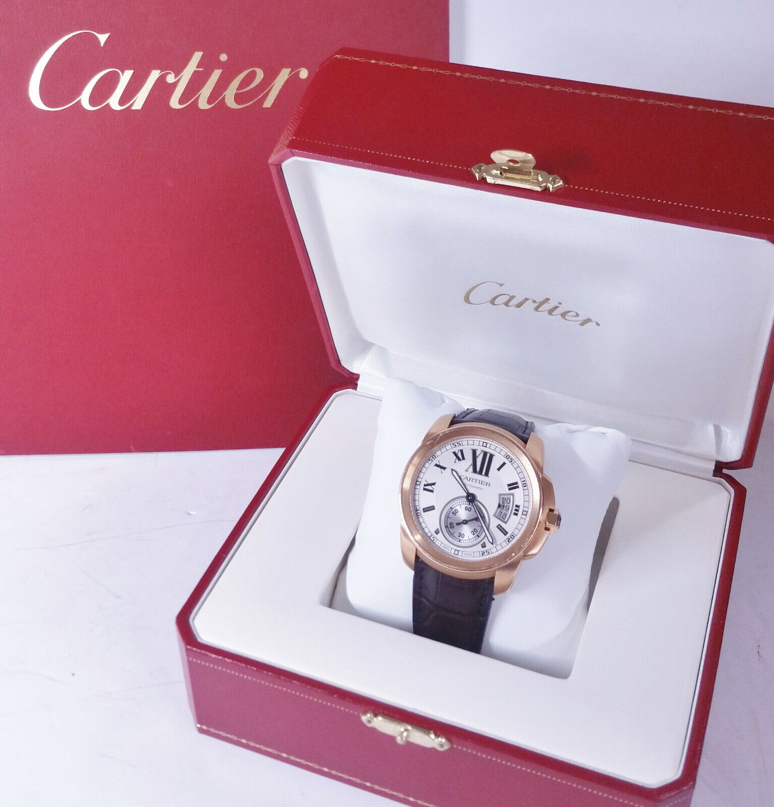 Giant Cartier Calibre 18k Rose Gold Mens Watch w Gold Deployant Clasp Box Papers - watch picture 1