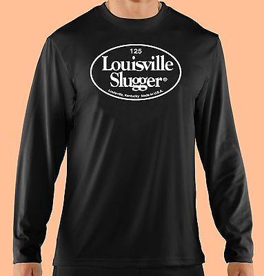Black Long Sleeve T Shirt,Baseball, Softball, Louisville Slugger, Cotton Gildan
