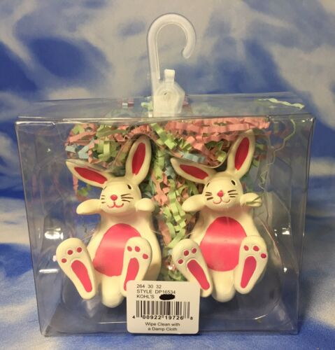 NEW HTF 2 Cute Blossoms & Blooms White Easter Bunny Rabbit N