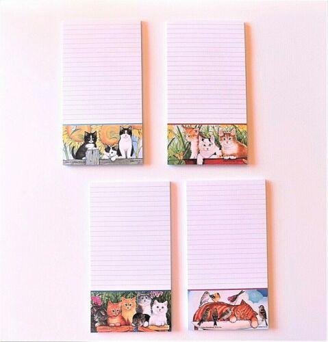 Cat Listpads / Notepads ~~ Set of 4 ~~FREE SHIPPING~~Artwork by Amy Rosenberg~~