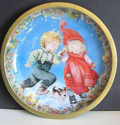 "Holiday Tray Bowl Children in Snow 10.5"" Sweden Pictura Metal  FREE SH"
