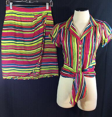 Nanette Lepore Women's Blouse & Faux Wrap Skirt 2 Pc Set Outfit 100% Silk Sz 2 - Nanette Lepore Silk Skirt