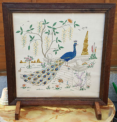 VINTAGE ART DECO PEACOCK EMBROIDERED TAPESTRY OAK FIRE SCREEN