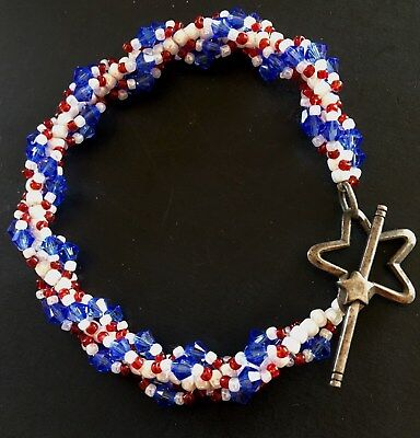 Red White and Blue Crystal Beaded Bracelet Star Toggle Clasp Bar marked 925 - Red White And Blue Bracelet