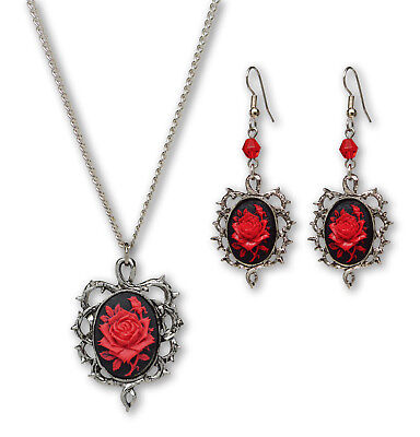 Gothic Red Rose Cameo In Thorns Pendant Necklace and Dangle Earrings Jewelry Set