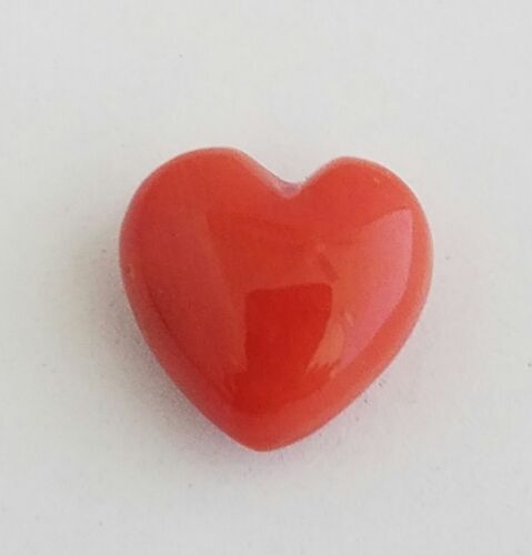 One Double Sided Heart Shaped Natural Mediterranean Red Coral Cabochon 13x13.5mm