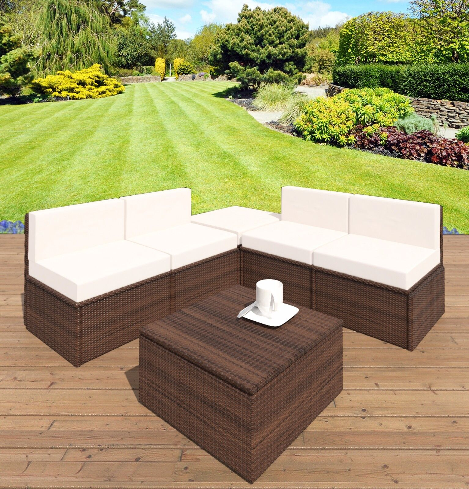 Garden Furniture - Brown Rattan Weave Garden Patio Balcony Furniture Lounge Chair Ottoman Footstool