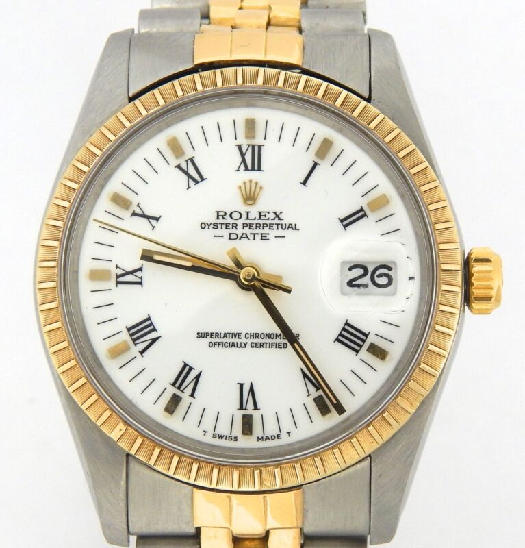 Rolex Date 15053 Mens Stainless Steel 18k Yellow Gold Watch White Roman Dial