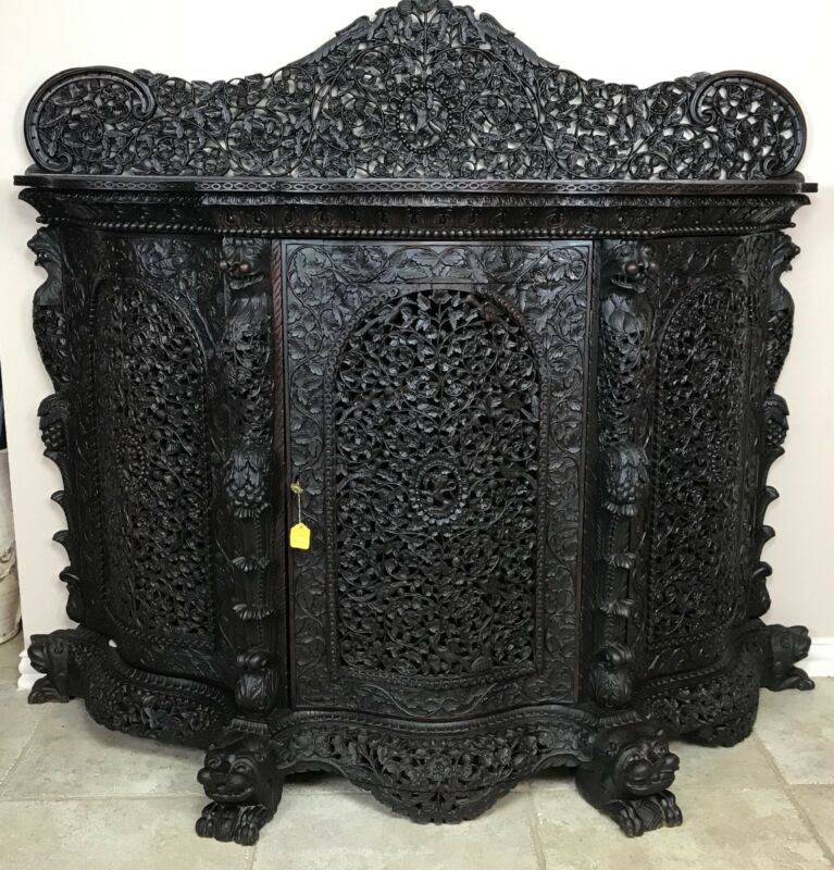 Antique 19th Century Anglo-Indian Heavily Carved Three Door Sideboard Cabinet