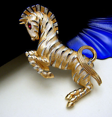 Crown Trifari Ark Series Zebra Brooch Platinum Plate Stripes Red Rhinestone Eyes on Lookza