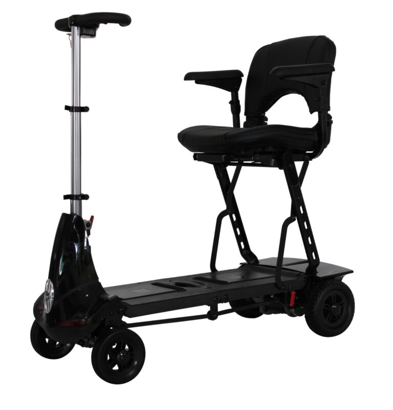 Black Mobie Foldable Travel Scooter From Solax Mobility, Compact, Lightweight